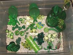 March sensory tub, St. Patrick's Day sensory tub.  Green sensory tub, sensory bin.  www.nurturingnaters.blogspot.com
