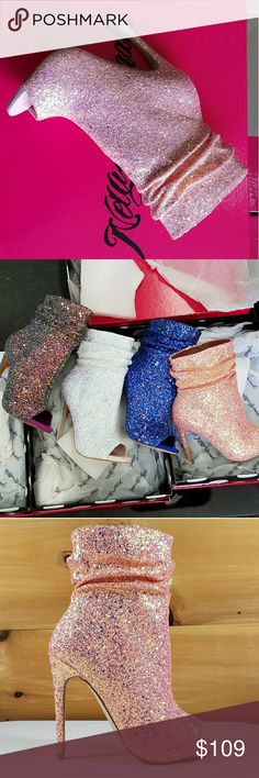 """Nelly B pink glitter ankle boot new size 8.5 Gorgeous new design by Nelly B. Pink multi glitter open toe design and a just right 4.5"""" high heel with a .5 """" mini platform. More sizes and colors available just ask or visit our main site twf.shoes Nelly Bernal Shoes Ankle Boots & Booties"""