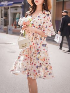 d1ee7cbd952 V neck Multicolor Midi Dress Swing Daytime Casual Floral Dress