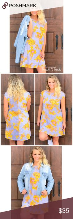 Emma Shift Dress Buttercup yellow, pink and Heather grey cotton Shift dress. Fully lined made of poly/cotton/spandex blend. The perfect transition casual weekend dress. Size S, M, L Threads & Trends Dresses