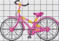 Bike Cross Stitch or Perler Bead Pattern Just Cross Stitch, Cross Stitch Needles, Cross Stitch Baby, Cross Stitch Charts, Cross Stitch Designs, Cross Stitch Patterns, Embroidery Applique, Cross Stitch Embroidery, Knitting Charts