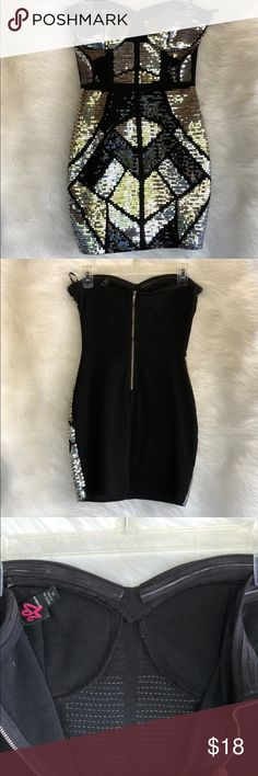 2B Bebe Sequin Mini Dress 2B Bebe Sequin Mini Dress Sweatheart strapless with grips in the inside to help support the dress. Back zipper closure. In used condition - some signs of use my the side of strapless area 2B Bebe Dresses Mini