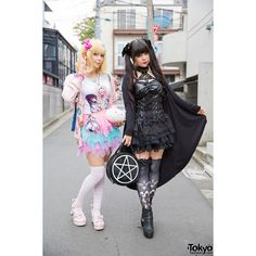 Harajuku Goth Style vs Pastel Style w/ Hello Kitty, Nude N'Rude... ❤ liked on Polyvore