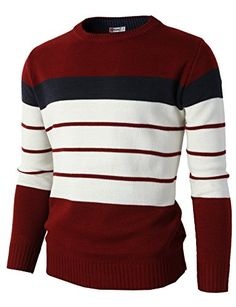 H2H Mens Casual Cotton Pullover Sweater of Two Tone Color…
