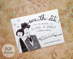 Save the Date PDF // personalized flapper wedding by flapperdoodle, $20.00