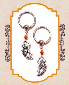 Silver Tierracast Koi Fish Pendant with Fire Opal Swarovski Crystals Nipple Ring Body Jewelry Pair 14G by DrBonesEmporium on Etsy http://etsy.me/1Q9fF8D