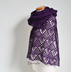 Lace crochet shawl stole cotton purple  M210 by Berniolie on Etsy, $98.00 https://www.facebook.com/Berniolie-440248762699969/?ref=hl