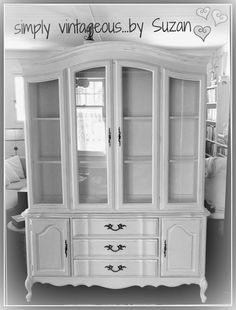 French Provincial Hutch Makeover with Annie Sloan Chalk Paint - Pure White