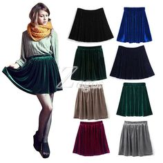 7b2a801e836e1 Women s Sexy Pleated Mini Skirt Velvet 8 Candy Color Choose Elastic Waist  Stretchy Free Size Wholesale