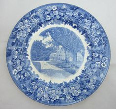 Items similar to Vintage Wedgwood Longfellows Wayside Inn Blue and White Plate on Etsy