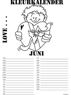 Kleurplaat Kleurkalender 06 juni - Kleurplaten.nl