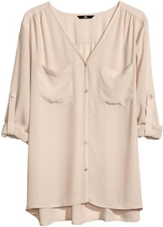 H&M V-neck Blouse - Powder beige - Ladies on shopstyle.com