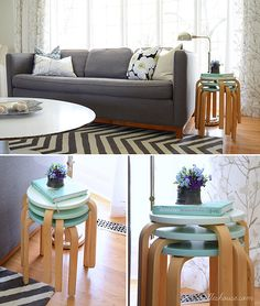 Similar stools in IKEA (Frosta, £8) for extra dinner guest aka my big family! Paint in shades of mint.