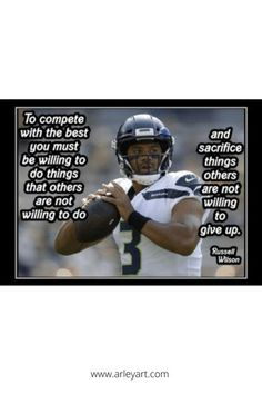 Ready to frame Russell Wilson quote poster. Inspirational football poster. Football Motivation, Motivation Wall, Football Wall, Football Players, Motivational Wall Art, Inspirational Quotes, Nfl Pro, Russell Wilson, Quote Posters