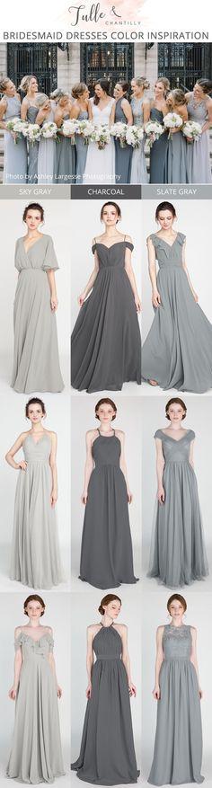 shades of gray bridesmaid dresses #bridalparty #bridesmaiddresses #weddinginspiration