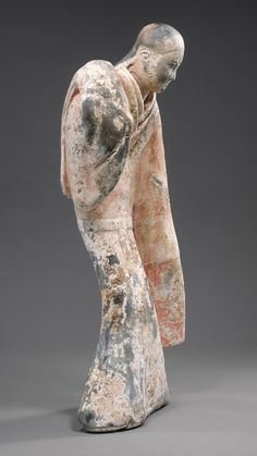 China. Female Dancer, Western Han dynasty (206 b.c.–9 a.d.), 2nd century b.c. Earthenware with slip and pigments