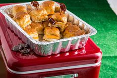 Pull-Apart Turkey and Cheddar Sliders with flags