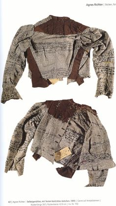 """ Agnes Richter, a mental patient in Austrian asylum, embroidered her jacket with text. Through the script she transcribed herself into time, space and place. Her writing orients and disorients. Made in it is a standard issue uniform given to. Art Textile, Textile Artists, Textiles, Straight Jacket, Human Condition, Embroidered Jacket, Outsider Art, Couture, Creations"