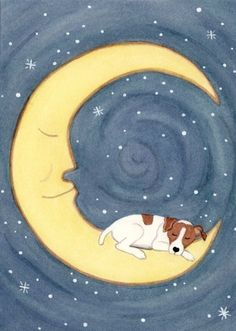 Jack Russell Terrier (JRT Parson) sleeping on the moon / Lynch signed folk art print by watercolorqueen on Etsy Chien Jack Russel, Jack Russell Puppies, Parson Russell Terrier, Fox Terriers, Little Dogs, Dog Art, I Love Dogs, Dog Lovers, Illustrations