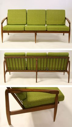 Mid century Danish Modern sofa. We had this but cushions were black, brown and cream bold stripe
