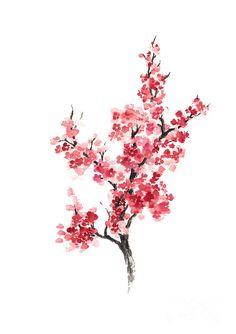 Cherry Blossom Japanese Flowers Poster Art Print by Joanna Szmerdt. - Cherry Blossom Japanese Flowers Poster Art Print by Joanna Szmerdt. All prints are professionally p - Japanese Tattoo Art, Japanese Tattoo Designs, Japanese Art, Japanese Prints, Japanese Sleeve, Japanese Flower Tattoos, Japanese Geisha, Japanese Kimono, Cherry Blossom Drawing