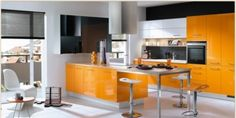 A new inspirational ideas for orange color in stylish interior on orange kitchen decoration from Febal Cucine , Copat and more designers. There's so many stylish design of kitchen chair in mini bar style in white color on this orange kitchen design.