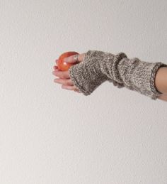 Owlfeather fingerless gloves - hand knit arm warmers in pure natural wool - cream and brown