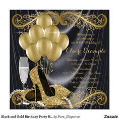 Black and Gold Birthday Party Hollywood Glamour 13 Cm X 13 Cm Square Invitation Card