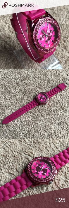 JCP Women Watch Deep Pink Silicon Rubber Band JCP Women Watch Deep Pink Silicon Rubber Band Pink Analog Wrist Watch  Color: Pink  Size: Belt ( adjustable )  Pre-owned: Never used, Store Display, May have scratches, no tag. No box, Fully Functional. Working battery. jcpenney Accessories Watches