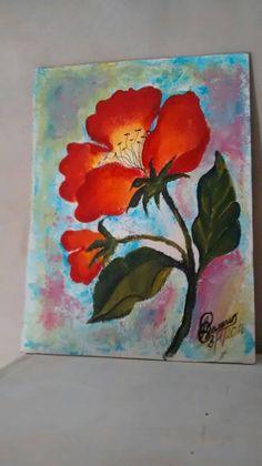pintura de una flor solitaria