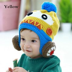 97ae442c014 Lovely robot knitting hat with ball decor on top winter ear flap hat for  toddlers