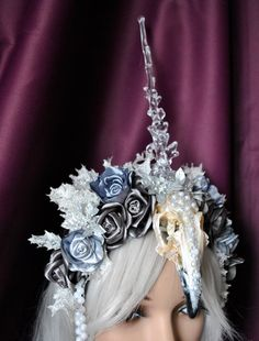 Unicorn horn white headpiece flower crown by MyWitchery
