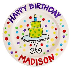 Make this! Birthday PlateBirthday CakesCake PlatesPottery ...  sc 1 st  Pinterest & Personalized ceramic girlu0027s happy birthday cake plate | Happy ...
