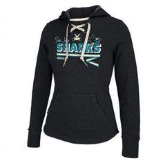 bf576569e Womens San Jose Sharks Reebok Black CCM Classic Ribbon Lace-Up Hoodie   MyNHLWishListSweeps