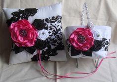 Hot Pink and Damask Ring Pillow and Flower Basket Set | NellieKatzDesignz - Wedding on ArtFire