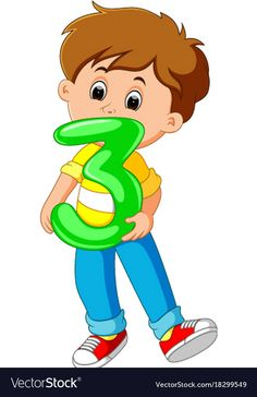 Cute child holding balloon with number three Vector Image School Cartoon, Cartoon Boy, Numbers Preschool, Preschool Math, Flashcards For Kids, Owl Clip Art, Powerpoint Background Design, English Lessons For Kids, School Clipart