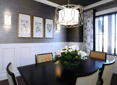 Dining Room :: The traditional wainscot, heavy hardwood floors and the classic toile fabric provides the traditional part, while lovely metallic grasscloth wallpaper and bamboo is as chic as it gets.