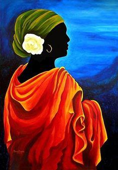 Giclee Print: Camelia, 2008 by Patricia Brintle : Black Women Art, Black Art, Art Haïtien, Afrique Art, Haitian Art, African Paintings, Caribbean Art, Afro Art, African American Art
