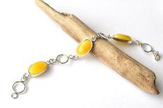 Natural Amber Sterling Silver Bracelet, Untreated Amber Bracelet, Amber Jewelry, Egg Yolk Amber Bracelet, Handmade amber chain bracelet