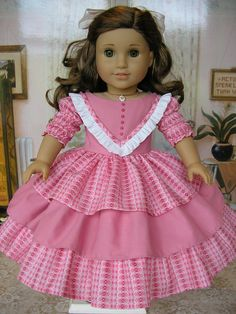 Pink Belle - an 1850s gown with a triple skirt and fancy trim. $99.00, by dolltimes via Etsy.