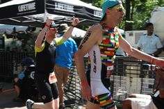 Team DKMS athlete Michael Tanney pumped to finish the NYC Triathlon! Photo Credit: Denis L. Tanney, Headzup photography