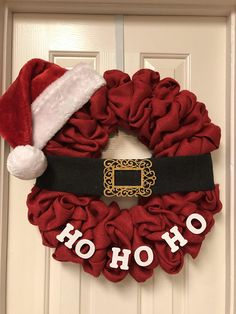 Santa burlap Christmas Wreath Its ready to hang on your front. Wreaths are not made to be in direct Wreath Crafts, Diy Wreath, Christmas Crafts, Tulle Wreath, Christmas Snowman, Merry Christmas, Christmas Mesh Wreaths, Burlap Christmas, Christmas Swags