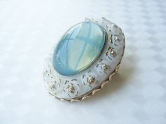 Vintage Oval Opalescent Glass Brooch Milk Glass with Gold Blue Glowing Center Circa 1950's