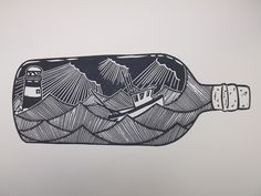 Fishing Boat in a Bottle . Original Linocut Print. £30.00 #messageinabottle #bottle