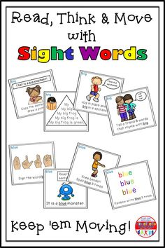 Read, Think & Move with Sight Words. Reading Fluency Activities, Sight Word Activities, Teaching Reading, Jogging In Place, Brain Based Learning, Reading Task Cards, Sight Words, Literacy Centers, Tired