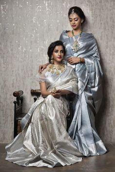 Grey Saree, Offbeat Bride, Amazing Weddings, Chocker, Pearl Grey, Brides And Bridesmaids, Embroidered Blouse, Saree Wedding, Girls Image