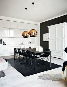 blissfulb - BLISS - art-filled copenhagenapartment - white kitchen + copper pendants + black rug & wall