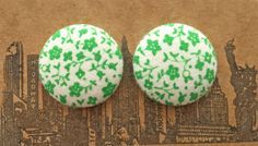 Wholesale Button Earrings / Green and White / by ManhattanHippy