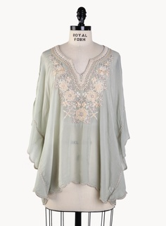 120550f432a pretty- ivory and ecru 3mbroidered on a sheer dove gray poncho Grey Poncho