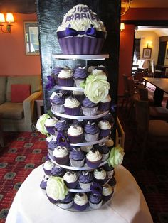 Cadburys Purple & Silver Cupcake Tower by The Ribbon Cake Company (Gale), via Flickr
